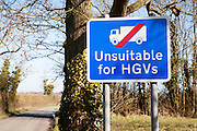 Sign showing road unsuitable for Heavy Goods Vehicles at Hoo, Suffolk, England