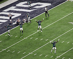 February 4, 2018 - Minneapolis, CA - Super Bowl Eagles wins 41-33 over Patriots..New England Patriots tight end Rob Gronkowski (87) is prevented from catching Tom Brady's Hail Mary at U.S. Bank Stadium on Sunday, Feb. 4, 2018 in Minneapolis, CA, and Eagles wins. (Credit Image: © Paul Kuroda via ZUMA Wire)