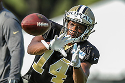 July 28, 2018 - New Orleans, LA, U.S. - METAIRIE, LA. - JULY 28:  New Orleans Saints wide receiver Travin Dural (14) runs through a drill during New Orleans Saints training camp practice on July 28, 2018 at the Ochsner Sports Performance Center in New Orleans, LA.  (Photo by Stephen Lew/Icon Sportswire) (Credit Image: © Stephen Lew/Icon SMI via ZUMA Press)