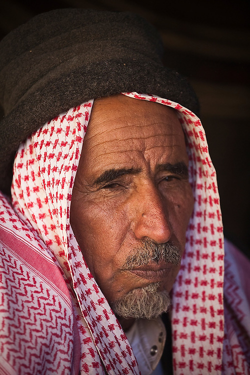 A Bedouin man in his remote home encampment in Wadi Rum, Jordan.