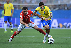 ROSTOV-ON-DON, June 17, 2018  Philippe Coutinho (R) of Brazil vies with Blerim Dzemaili of Switzerland during a group E match between Brazil and Switzerland at the 2018 FIFA World Cup in Rostov-on-Don, Russia, June 17, 2018. (Credit Image: © Li Ga/Xinhua via ZUMA Wire)