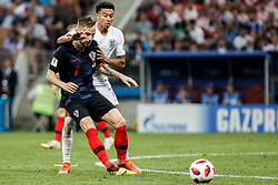 July 11, 2018 - Moscow, Vazio, Russia - Ivan RAKITIC from Croatia and Jesse LINGARD from England during a game between England and Croatia valid for the semi final of the 2018 World Cup, held at the Lujniki Stadium in Moscow, Russia. Croatia wins 2-1. (Credit Image: © Thiago Bernardes/Pacific Press via ZUMA Wire)