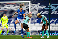 Birmingham City defender Louise Quinn (4) heads the ball during the FA Women's Super League match between Birmingham City Women and Brighton and Hove Albion Women at St Andrews, Birmingham United Kingdom on 12 September 2021.