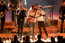 52nd Annual Country Music Association Awards hosted by Carrie Underwood and Brad Paisley and held at the Bridgestone Arena on November 14, 2018, in Nashville, TN. © Curtis Hilbun / AFF-USA.com. 14 Nov 2018 Pictured: John Osborne and T.J. Osborne of Brothers Osborne and Dierks Bentley. Photo credit: Curtis Hilbun / AFF-USA.com / MEGA TheMegaAgency.com +1 888 505 6342