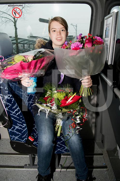 HARDENBERG - 250.000 buurtbus passagier.<br /> Foto: Elsemieke Tibben, onderweg naar Moderna bij het station in de bloemen gezet.<br /> FFU Press Agency copyright Frank Uijlenbroek