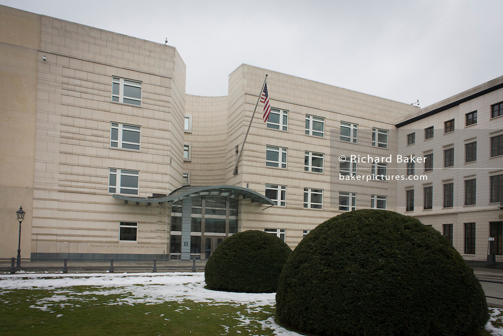 The US embassy near the Brandenburg Gate in Unter den Linden in central Berlin, Germany.