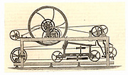 Side view of the spinning mule perfected in 1779 by Samuel Crompton (1753-1827) English inventor of Bolton, Lancashire. Crompton's mule made it possible to spin any yarn by machinery and was one of the inventions which revolutionised the British textile industry.   Woodcut from 'Great Industries of Great Britain' (London, c1889).