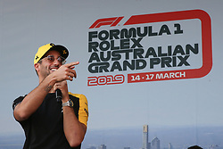March 16, 2019 - DANIEL RICCIARDO attending the F1 Driver Q&A Panel on Qualifying Saturday at the 2019 Formula 1 Australian Grand Prix on March 16, 2019 In Melbourne, Australia  (Credit Image: © Christopher Khoury/Australian Press Agency via ZUMA  Wire)