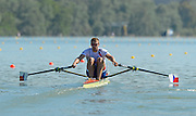 Seville. Andalusia. SPAIN. CZE M1X. Ondrej SYNEK, moves away from the start pontoon at the 2013 FISA European Rowing Championship.  Guadalquivir River.  Friday   31/05/2013  [Mandatory Credit. Peter Spurrier/Intersport]