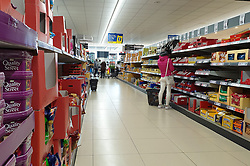 © Licensed to London News Pictures. 05/11/2020. London, UK. A quiet Lidl supermarket store in Tottenham, north London on the first day of COVID-19 second national lockdown in England. Members of the public have been asked to 'stay at home', from today until Wednesday 2 December to control the increase of coronavirus infection rate. Photo credit: Dinendra Haria/LNP