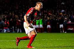 Chris Solly of Charlton Athletic celebrates scoring his penalty in the shootout - Mandatory by-line: Robbie Stephenson/JMP - 17/05/2019 - FOOTBALL - The Valley - Charlton, London, England - Charlton Athletic v Doncaster Rovers - Sky Bet League One Play-off Semi-Final 2nd Leg