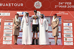 February 24, 2019 - Abu Dhabi, Emirati Arabi Uniti, Emirati Arabi Uniti - Foto LaPresse - Fabio Ferrari.24 Febbraio 2019 Abu Dhabi (Emirati Arabi Uniti).Sport Ciclismo.UAE Tour 2019 - Tappa 1 - Da Al Hudayriat Island a Al Hudayriat Island - Crono squadre 16 km.Nella foto:  maglia bianca- Laurens De Plus..Photo LaPresse - Fabio Ferrari.February 24, 2019 Abu Dhabi (United Arab Emirates) .Sport Cycling.UAE Tour 2019 - Stage 1 - From Al Hudayriat Island to Al Hudayriat Island - TTT 9,9 miles.In the pic:  White Jersey, sponsored by Nakheel (Best Young Rider born after 1 January 1994) - Laurens De Plus (Credit Image: © Fabio Ferrari/Lapresse via ZUMA Press)
