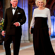Prince Charles, the Prince of Wales, left, and Camilla, the Duchess of Cornwall, right, arrive for a dinner, at the invitation of Queen Beatrix, with members of the royal family and guests at the Rijksmuseum in Amsterdam, The Netherlands,on Monday night, April 29, 2013. HANDOUT/ROBIN UTRECHT