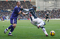 Photo: Steve Bond/Richard Lane Photography. West Bromwich Albion v Newcastle United. Barclays Premiership. 07/02/2009. Marc-Antoine Fortune (R) shields the ball from Nicky Butt (L)