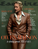 August 18, 2021 - USA: Owen Wilson Covers Esquire Magazine September Issue