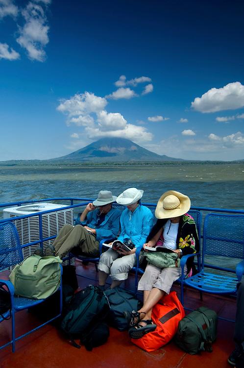 Nicaragua / Isla de Ometepe Ferry / Tourists / Lake Nicaragua / Concepcion Volcano