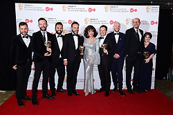 Ant McPartlin, Joan Collins and Declan Donnelly with the award for Best Entertainment Programme in the press room at the Virgin TV British Academy Television Awards 2017 held at Festival Hall at Southbank Centre, London. PRESS ASSOCIATION Photo. Picture date: Sunday May 14, 2017. See PA story SHOWBIZ Bafta. Photo credit should read: Ian West/PA Wire