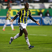 Fenerbahce's Moussa Sow celebrate his goal during their Turkish superleague soccer match Besiktas between Fenerbahce at the BJK Inonu Stadium in Istanbul Turkey on Saturday, 03 March 2013. Photo by Aykut AKICI/TURKPIX