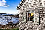 Rustic fishing shack, Jonesport, Maine, USA
