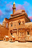 Courtyard of the 18th Century Ottoman architecture of the Ishak Pasha Palace (Turkish: İshak Paşa Sarayı) ,  Ağrı province of eastern Turkey. .<br /> <br /> If you prefer to buy from our ALAMY PHOTO LIBRARY  Collection visit : https://www.alamy.com/portfolio/paul-williams-funkystock/ishak-pasha-palace-turkey.html<br /> <br /> Visit our TURKEY PHOTO COLLECTIONS for more photos to download or buy as wall art prints https://funkystock.photoshelter.com/gallery-collection/3f-Pictures-of-Turkey-Turkey-Photos-Images-Fotos/C0000U.hJWkZxAbg
