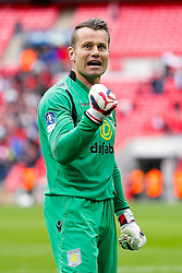 Shay Given celebrates after Aston Villa win the match 2-1 to reach the 2015 FA Cup Final - Photo mandatory by-line: Rogan Thomson/JMP - 07966 386802 - 19/04/2015 - SPORT - FOOTBALL - London, England - Wembley Stadium - Aston Villa v Liverpool - FA Cup Semi Final.