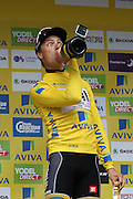 Edvald Boasson Hagen drinks champagne after winning the Aviva Tour of Britain, Regent Street, London, United Kingdom on 13 September 2015. Photo by Ellie Hoad.