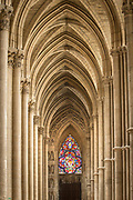 Vaulted ceiling in Cathedral of Notre-Dame in Reims, France