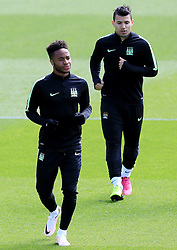 Raheem Sterling and Sergio Aguero of Manchester City train - Mandatory byline: Matt McNulty/JMP - 25/04/2016 - FOOTBALL - City Football Academy - Manchester, England - Manchester City v Real Madrid - UEFA Champions League Training Session