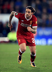 """Liverpool's Danny Ings during the Carabao Cup, third round match at the King Power Stadium, Leicester. PRESS ASSOCIATION Photo. Picture date: Tuesday September 19, 2017. See PA story SOCCER Leicester. Photo credit should read: Mike Egerton/PA Wire. RESTRICTIONS: EDITORIAL USE ONLY No use with unauthorised audio, video, data, fixture lists, club/league logos or """"live"""" services. Online in-match use limited to 75 images, no video emulation. No use in betting, games or single club/league/player publications."""