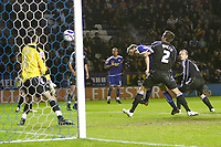 Photo: Steve Bond/Richard Lane Photography. Leicester City v Peterborough United. Coca-Cola Football League One. 20/12/2008. Andy King (2nd R) gets his head to a near post freekick for no3