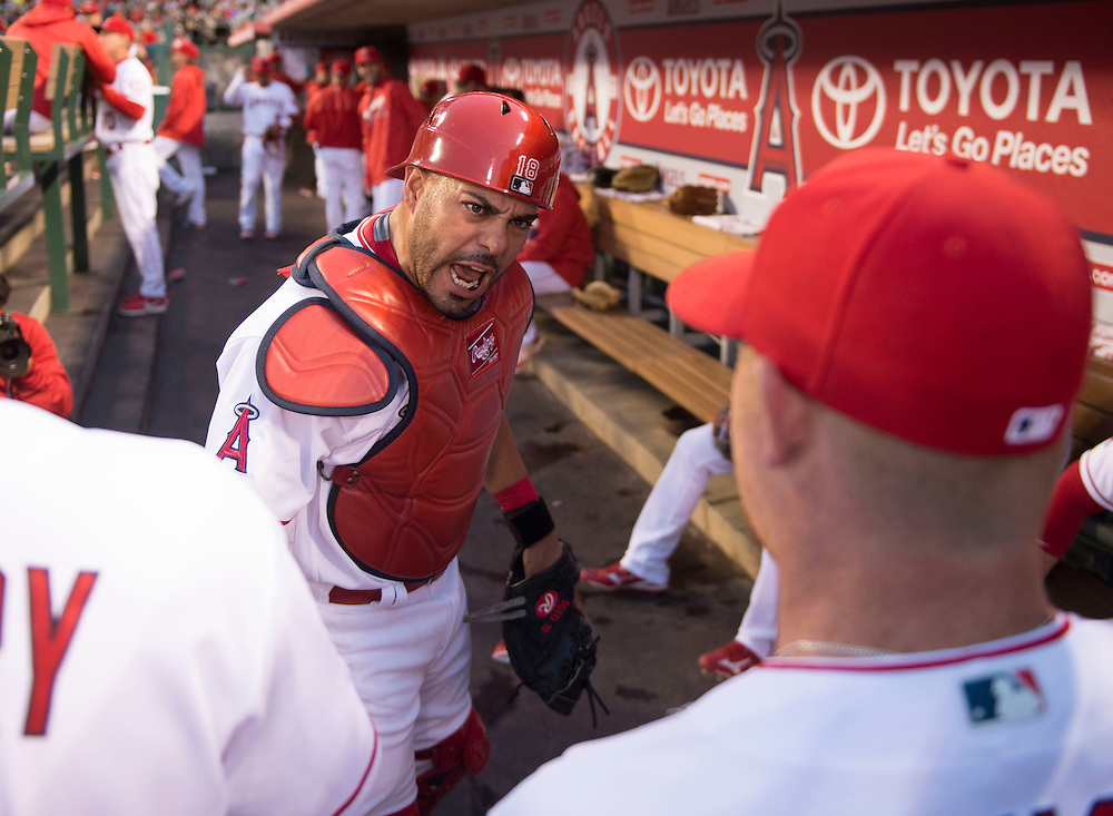 Angels catcher Geovany Soto gets his teammates fired up before taking the field against the Texas Rangers Thursday at Angel Stadium.<br /> <br /> ///ADDITIONAL INFO:   <br /> <br /> angels.0408.kjs  ---  Photo by KEVIN SULLIVAN / Orange County Register  --  4/7/16<br /> <br /> The Los Angeles Angels take on the Texas Rangers at Angel Stadium Thursday night.<br /> <br /> <br />  4/7/16