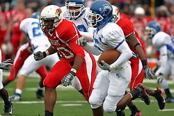 13 October 2007:  Ryan Patrick returns the opening kick chased by Bert Whigham. The Indiana State Sycamores were jacked 69-17 by the Illinois State Redbirds at Hancock Stadium on the campus of Illinois State University in Normal Illinois.