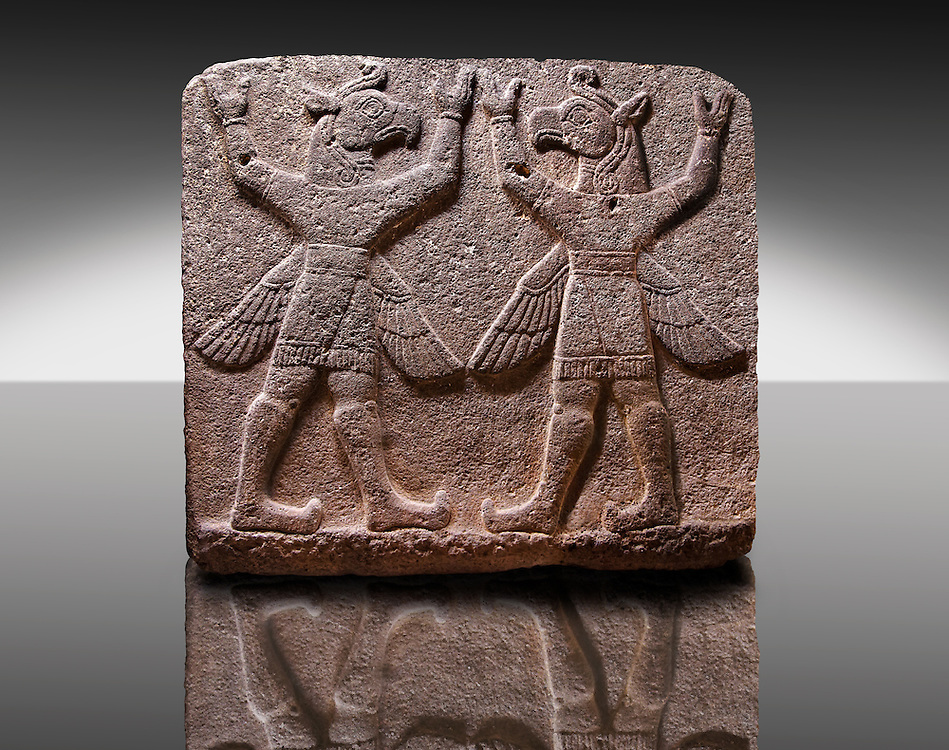 """Picture of Neo-Hittite orthostat describing the legend of Gilgamesh from Karkamis,, Turkey. Museum of Anatolian Civilisations, Ankara.Symetrical mythological Scene depicting """"Winged Griffin Demons"""", half men with birds heads & wings. Their hands are raised above their heads supposidly carrying the sky. 3"""