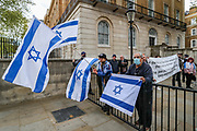 London, United Kingdom, May 11, 2021: Some pro-Israeli protestors holding banners and placards as well as waving Israeli flags, gathered outside Britain's PM Office in Downing Street central London to counter the pro-Palestinian demonstrations on Tuesday, May 11, 2021. (Photo by Vudi Xhymshiti/VXP)