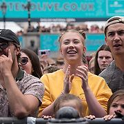on stage at West End Live on June 17 2018  in Trafalgar Square, London.