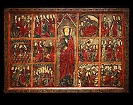 Gothic painted Panel of the life of Saint Ursula. Tempera and varnished metal plate on wood. National Museum of Catalan Art, inv no: 004377-000 .<br /> <br /> If you prefer you can also buy from our ALAMY PHOTO LIBRARY  Collection visit : https://www.alamy.com/portfolio/paul-williams-funkystock/gothic-art-antiquities.html  Type -     MANAC    - into the LOWER SEARCH WITHIN GALLERY box. Refine search by adding background colour, place, museum etc<br /> <br /> Visit our MEDIEVAL GOTHIC ART PHOTO COLLECTIONS for more   photos  to download or buy as prints https://funkystock.photoshelter.com/gallery-collection/Medieval-Gothic-Art-Antiquities-Historic-Sites-Pictures-Images-of/C0000gZ8POl_DCqE