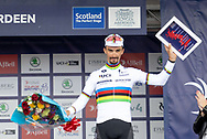 Julian Alaphillipe finished third in the general classification during the presentation after Stage 8 of the AJ Bell Tour of Britain 2021 between Stonehaven to Aberdeen, , Scotland on 12 September 2021.