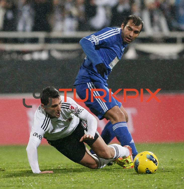 Besiktas's Mustafa Pektemek  (L) during their Turkey Cup matchday 3 soccer match Besiktas between Gaziantepspor BSB at the Inonu stadium in Istanbul Turkey on Wednesday 11 January 2012. Photo by TURKPIX