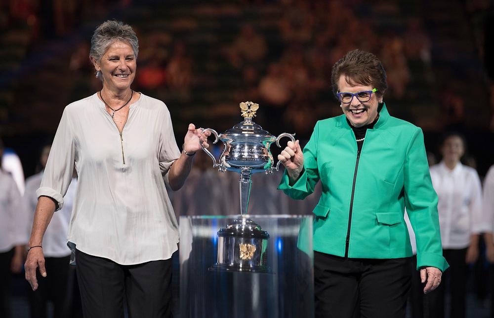 Billie Jean King during the 2018 Australian Open on day 13 in Melbourne, Australia on Friday night January 27, 2018.<br /> (Ben Solomon/Tennis Australia)