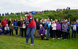 Auchterarder, Scotland, UK. 14 September 2019. Saturday morning Foresomes matches  at 2019 Solheim Cup on Centenary Course at Gleneagles. Pictured; Jessica Korda of Team USA chips from beside the green on the 3rd hole. Iain Masterton/Alamy Live News