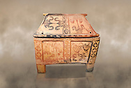 Minoan  pottery gabled larnax coffin chest with bird and papyrus decorations,   1300-1200 BC, Heraklion Archaeological  Museum. .<br /> <br /> If you prefer to buy from our ALAMY PHOTO LIBRARY  Collection visit : https://www.alamy.com/portfolio/paul-williams-funkystock/minoan-art-artefacts.html . Type -   Heraklion   - into the LOWER SEARCH WITHIN GALLERY box. Refine search by adding background colour, place, museum etc<br /> <br /> Visit our MINOAN ART PHOTO COLLECTIONS for more photos to download  as wall art prints https://funkystock.photoshelter.com/gallery-collection/Ancient-Minoans-Art-Artefacts-Antiquities-Historic-Places-Pictures-Images-of/C0000ricT2SU_M9w