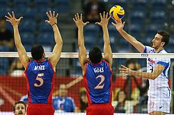 06.09.2014, Krakow Arena, Krakau, POL, FIVB WM, Puerto Rico vs Italien, Gruppe D, im Bild Simone Parodi (ITA), Roberto Muniz (PUR), Edgardo Goas (PUR) // during the FIVB Volleyball Men's World Championships Pool D Match beween Puerto Rico and Italy at the Krakow Arena in Krakau, Poland on 2014/09/06. EXPA Pictures © 2014, PhotoCredit: EXPA/ Newspix/ Tomasz Jastrzebowski<br /> <br /> *****ATTENTION - for AUT, SLO, CRO, SRB, BIH, MAZ, TUR, SUI, SWE only*****