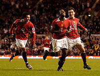 Photo: Jed Wee.<br /> Manchester Utd v Barnet. Carling Cup. 26/10/2005.<br /> <br /> Manchester United's goalscorer Sylvan Ebanks-Blake (C) celebrates with Kieran Richardson (L) and Giuseppe Rossi.