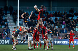 Edinburgh Rugby's Ben Toolis wins a lineout during the European Challenge Cup, pool five match at Twickenham Stoop, London.