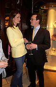 Plum Sykes and Lord Dunluce. Book party for LAST VOYAGE OF THE VALENTINA by Santa Montefiore (Hodder & Stoughton) Asprey,  New Bond St. 12 April 2005. ONE TIME USE ONLY - DO NOT ARCHIVE  © Copyright Photograph by Dafydd Jones 66 Stockwell Park Rd. London SW9 0DA Tel 020 7733 0108 www.dafjones.com