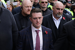 © Licensed to London News Pictures. 23/10/2018. London, UK. Former English Defence League leader Tommy Robinson leaves the Old Bailey in London, where he is accused of contempt of court for breaking reporting restrictions around the Huddersfield grooming gang trial. Photo credit: Rob Pinney/LNP