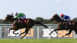 Barristan The Bold and Richard Kingscote lead Camachess and Nicola Currie home to win The 18 Bet Supports The NSPCC Nursery Handicap Stakes Race run at Sandown Park Racecourse, Esher.