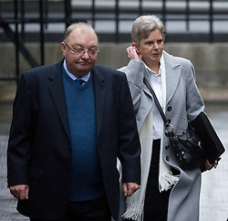 © London News Pictures. 22/11/2011. London, UK.  JIM and MARGARET WATSON (right), whose daughter Diane was stabbed to death arriving at The Royal Courts of Justice today (22/11/2011) to give evidence at the Leveson Inquiry into press standards. The inquiry is being lead by Lord Justice Leveson and is looking into the culture, and practice of the UK press. The Leveson inquiry, which may take a year or more to complete, comes after The News of The World Newspaper was closed following a phone hacking scandal. Photo credit : Ben Cawthra/LNP