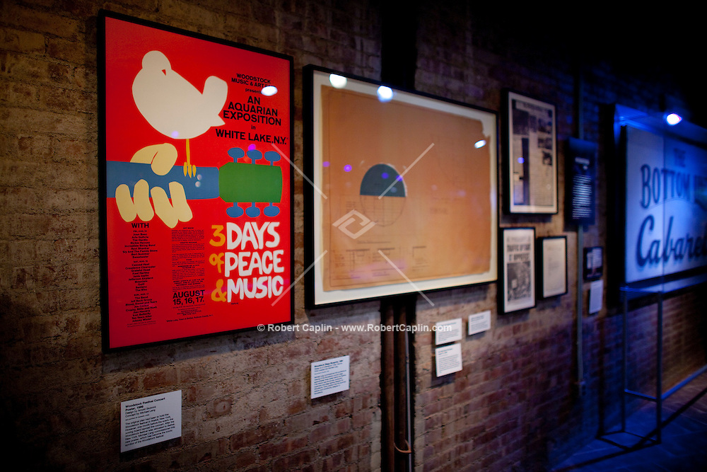 Original Woodstock poster on display at The Rock and Roll Hall of Fame Annex in New York City..(Photo by Robert Caplin)..