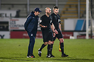 Joey Barton Manager of Bristol Rovers has a word with CHARLES BREAKSPEAR Referee after the match during the EFL Sky Bet League 1 match between Burton Albion and Bristol Rovers at the Pirelli Stadium, Burton upon Trent, England on 2 March 2021.